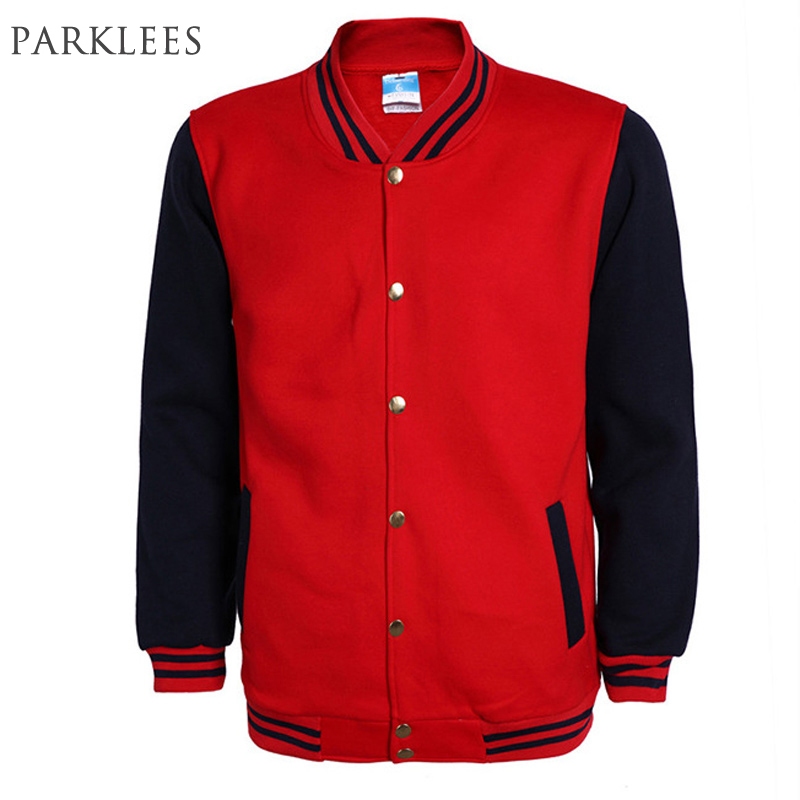 New Red Baseball Jacket Uomo Veste Homme 2017 Mens Spring Fashion Slim Fit Bomber Varsity Giacca Casual Brand College Giacche 3XL