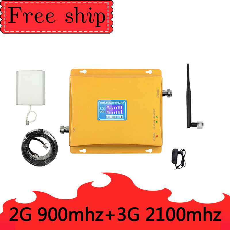 GSM 2G 900mhz WCDMA 3G 2100mhz Cellular Signal Booster  Dual Band Cellphone Repeater Gain70db 900/2100MHZ UMTS Signal Amplifier