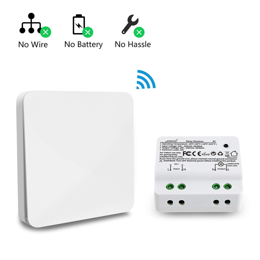 10A AC 100-250V Kinetic Wireless Light Switch Kit Powered Switch 100-656ft Remote Control House Lighting 2500W