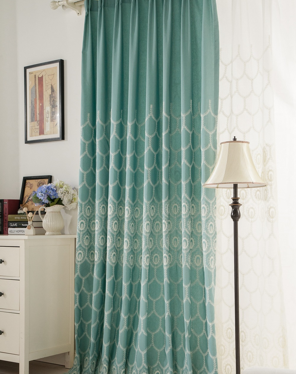 Phoenix Ling Cotton Embroidery Curtain With Special Cutting Edge