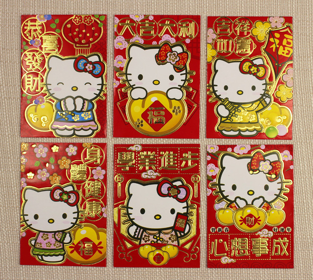cartoon hot pink hello kitty chinese new year red envelope 2018 spring festival red packet 10