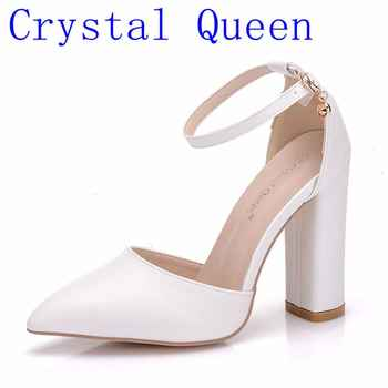 Crystal Queen Sandals Women High Heels Summer Square Heel Platform Shoes Sexy Ladies White Sandals Party Wedding Sandal - DISCOUNT ITEM  30% OFF All Category