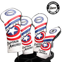 Guiote Brand PU Leather Captain America Golf Headcover Of Wood Hybrid Golf Club Head Cover