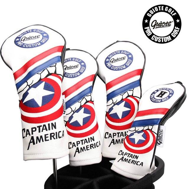b1739796cc886 Guiote Marca PU de couro capitão América barrete de madeira   híbrido clube  de golfe tampa