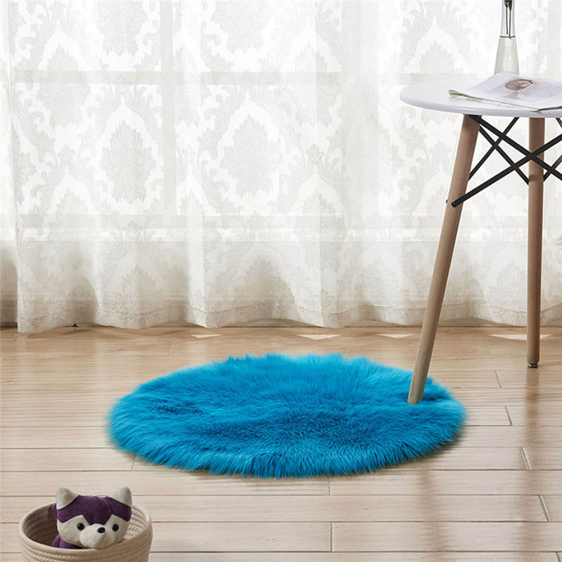 Wool Imitation Sheepskin Rugs Faux Fur Non Slip Bedroom Shaggy Carpet Mats Modern Carpets For Living Room Fashion A26@Z (15) -