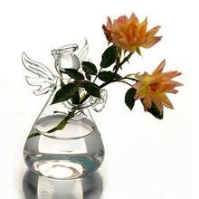 Прозрачная стеклянная подвесная ваза в форме ангела, Террариум, гидропонный горшок, цветочный домашний декор, стеклянный террариум, гидропонная ваза в форме ангела, d ваза