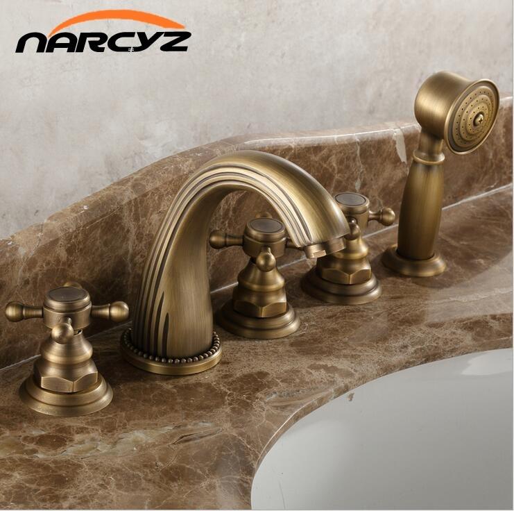 Full copper hot and cold bath faucet five piece European style bronze bath side split five