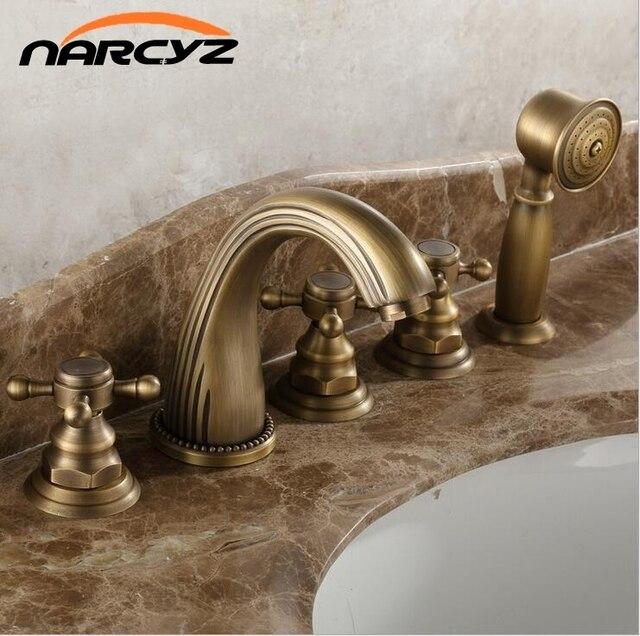 Full copper hot and cold bath faucet five - piece European - style bronze bath side split five - piece shower faucet XR7034
