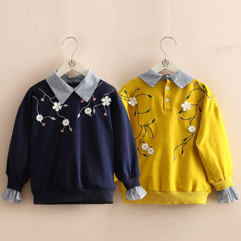 2018 Herbst Frühling 2-11 12 Jahre Teenager Blume Stickerei Drehen-unten Kragen Patchwork Gefälschte 2 Stücke Sweatshirt Für Kinder Baby Mädchen