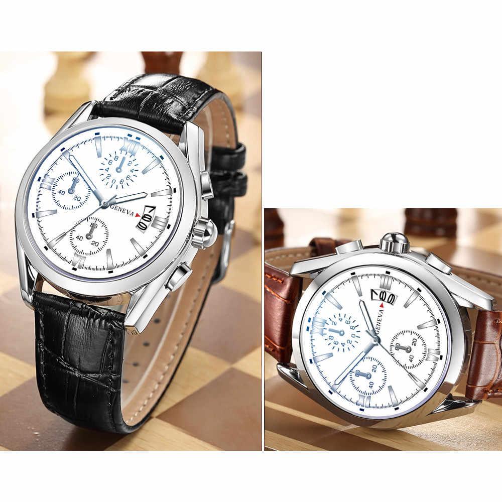 Horloge Mannen 2019 Fashion Luxe Merk Datum Bedrijvengids Reloj Hombre casual Lederen Relogio Masculino horloges montre homme