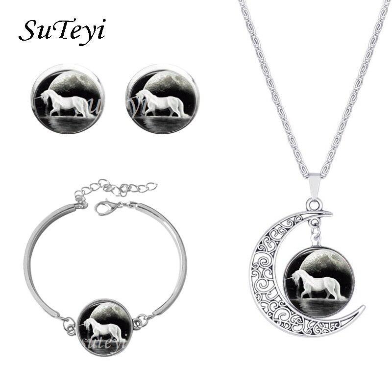 Hot Sale Glass Cabochon Unicorn Necklace Jewelry Set Fashion Earring Bracelets / Bangles Necklace Sets Trendy Party Jewelry