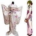 Японские Женщины Длинные Furisode Кимоно Светло-Розовый Цветочный Простой костюм для Косплея