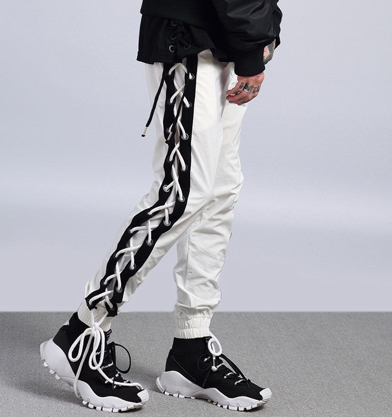 Side Cross Lace Up Joggers Pants 2