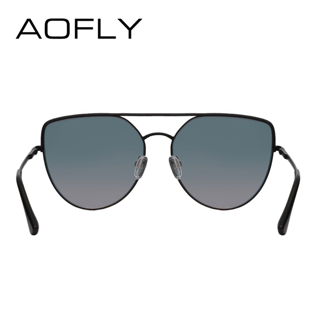 AOFLY BRAND DESIGN Sunglasses Women 2018 Fashion Flat Top Sun Glasses Female Vintage Retro Metal Twin-Beams Shades Mirror UV400