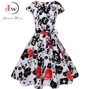 Image 4 - Print letnia sukienka damska kwiatowy krótki kimonowy rękaw sukienka Vintage z paskiem elegancka sukienka sukienka na imprezę w stylu Rockabilly Sundress Plus rozmiar