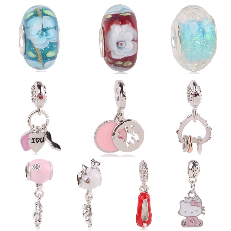 Couqcy For Pandora Bracelet Necklaces New Flamy KT Mouse Glass Arrives in Many Styles Beads European DIY Charm
