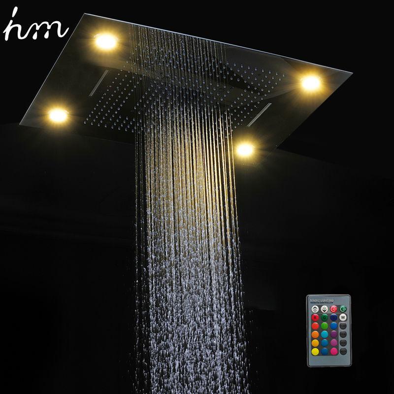 Hm Multi Funzione Ha Condotto La Luce Soffione doccia 600*800 millimetri Doccia A Pioggia A Soffitto A Distanza di Controllo HA PORTATO Precipitazioni Cascata di Massaggio soffioni per doccia