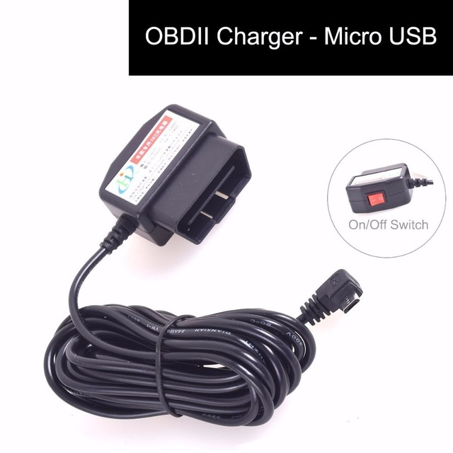 OBDII Charging Cable Micro USB Power Adapter with Switch Button - 16Pin OBD2 Connector Direct Charger for GPS Tablet E-dog Phone