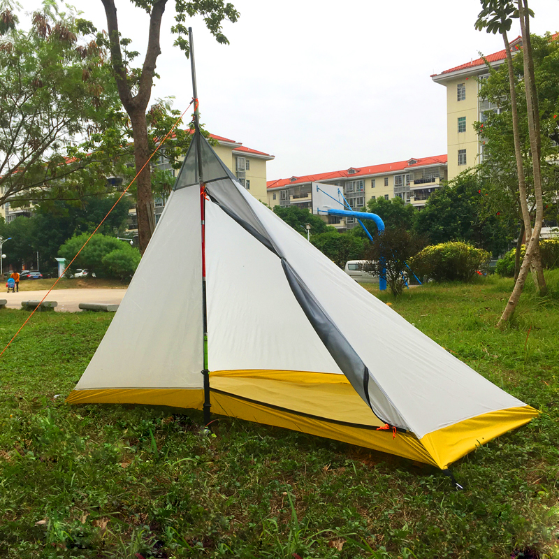 668G Camping tent 1 2 Person Outdoor 40D Nylon Silicon Coating Rodless Pyramid Large Tent Camping