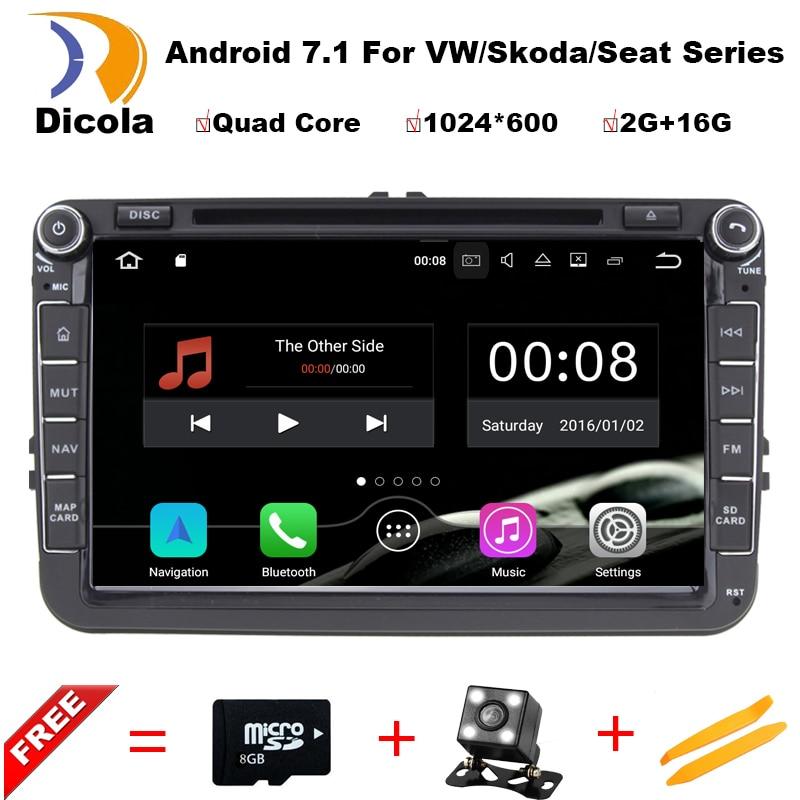 3G Android 7.1.1 Quad Core 2GB RAM Car DVD for VW Passat CC Polo GOLF 5 6 Touran EOS T5 Sharan Jetta Tiguan GPS Radio Seat Altea mydean 3004 2vw для vw golf jetta passat tiguan touran amarok transporter t5 caravelle t5