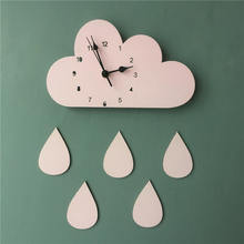 Cartoon Wooden Cloud Raindrop Wall Clock Kids Room Wall Hanging Mute Clock