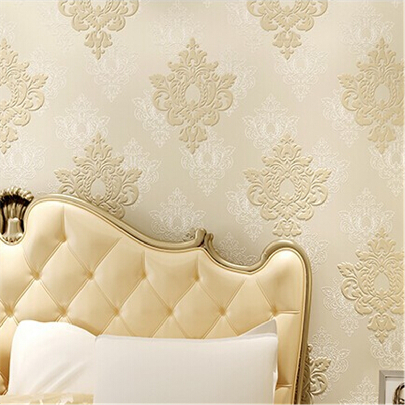 beibehang papel de parede 3D three-dimensional relief European Damascus non-woven wallpaper bedroom living room  TV background