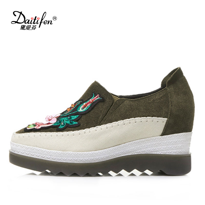 Daitifen  Cow Suede Embroidery Wedge High Heels Platform Slip on Flowers Sneaker Round Toe Handmade Women Brand Casual Shoes black ladies cool casual pumps wedge korean slip on high heels suede creepers big size 4 34 green platform shoes round toe
