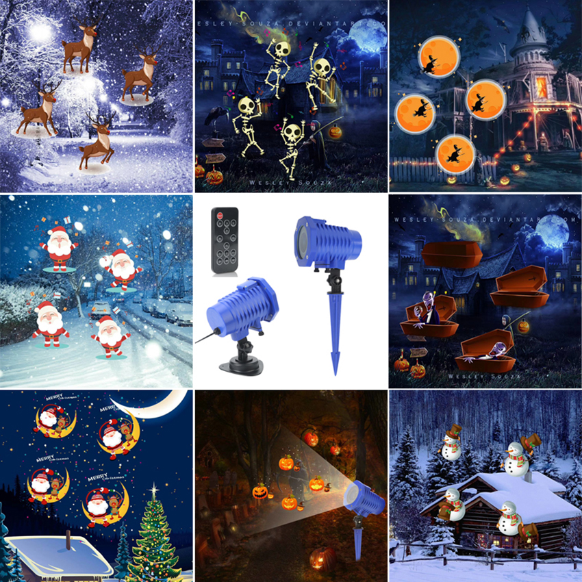 Waterproof Moving Christmas Halloween Laser Projector light 8 Pattern Projector Stage Light New year Party Landscape Garden Lamp|Stage Lighting Effect| |  - title=