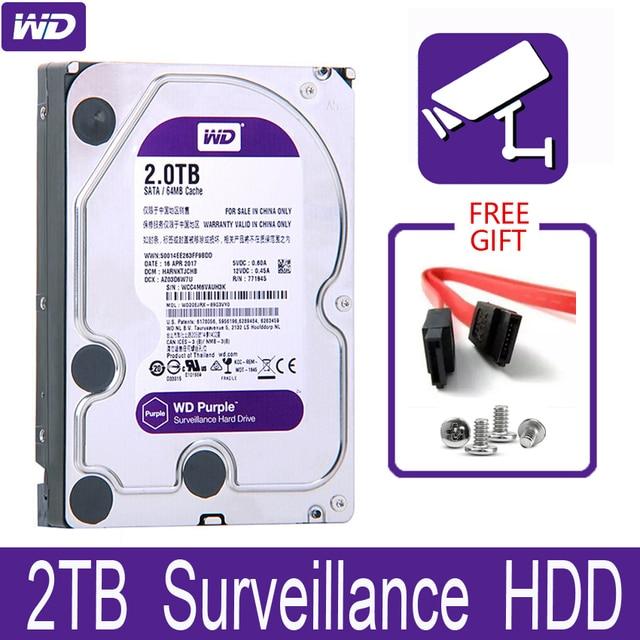 "WD Purple 2TB Surveillance Internal Hard Drive Disk 3.5"" 64M Cache SATA III 6Gb/s 2T 2000GB HDD HD Harddisk for CCTV DVR NVR"