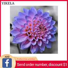 Full Square 3D Diamond Painting Dahlia Embroidery Rhinestone Mosaic Flowers Cross Stitch Home Decor Wall Stickers