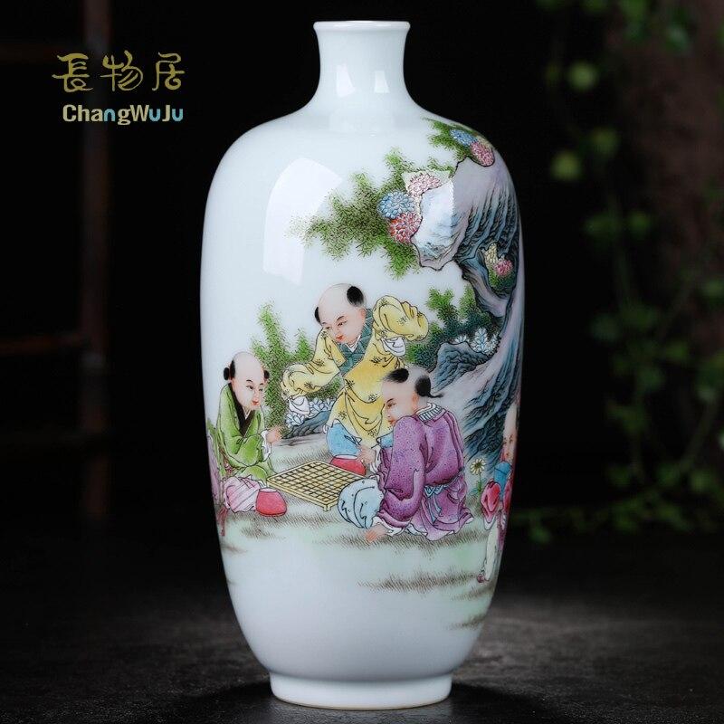 Changwuju в Цзиндэчжэнь украшения дома аксессуары ваза handpainted jinhongxia семейному вырос pocerlain ваза для украшения