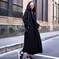 2016 осенне-зимней моды шерстяной верхняя одежда негабаритных старинные долго дизайн свободно утолщение шерстяные пальто плюс размер женщина