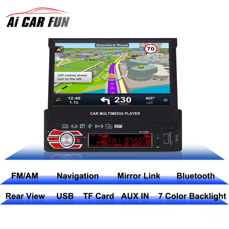 RK-7158G Car Radio Multimedia Player Full Retractable Screen MP5 /MP4 / MP3 GPS Navigation Support Rear View Camera Mirror Link 2din 7inch car bluetooth mp5 player reversing rear view camera function car radio gps navigation car radio media player rk 7157g