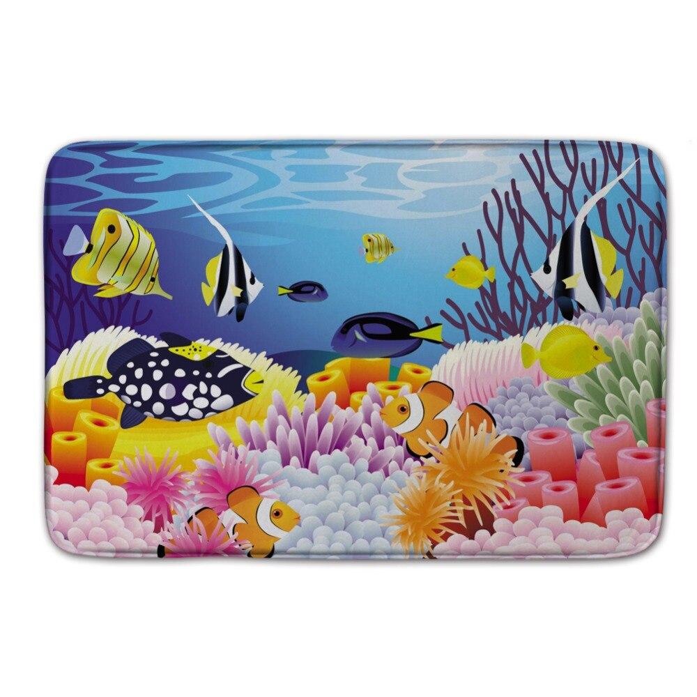 Cute Kitchen Mats. Sea World Doormat Outdoor,fish Door Mats,colorful  Bathroom Carpet