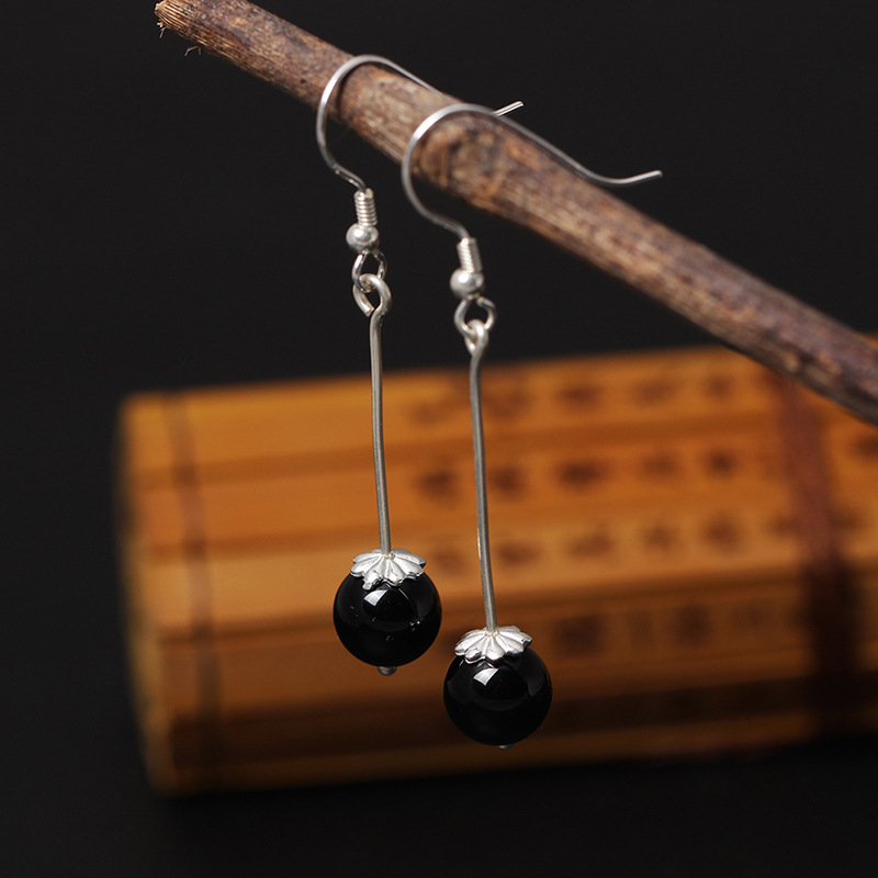 925 Sterling Silver Vintage Obsidian Beads Drop Earrings For Women High Quality Lady Prevent Allergy Sterling-silver-jewelry