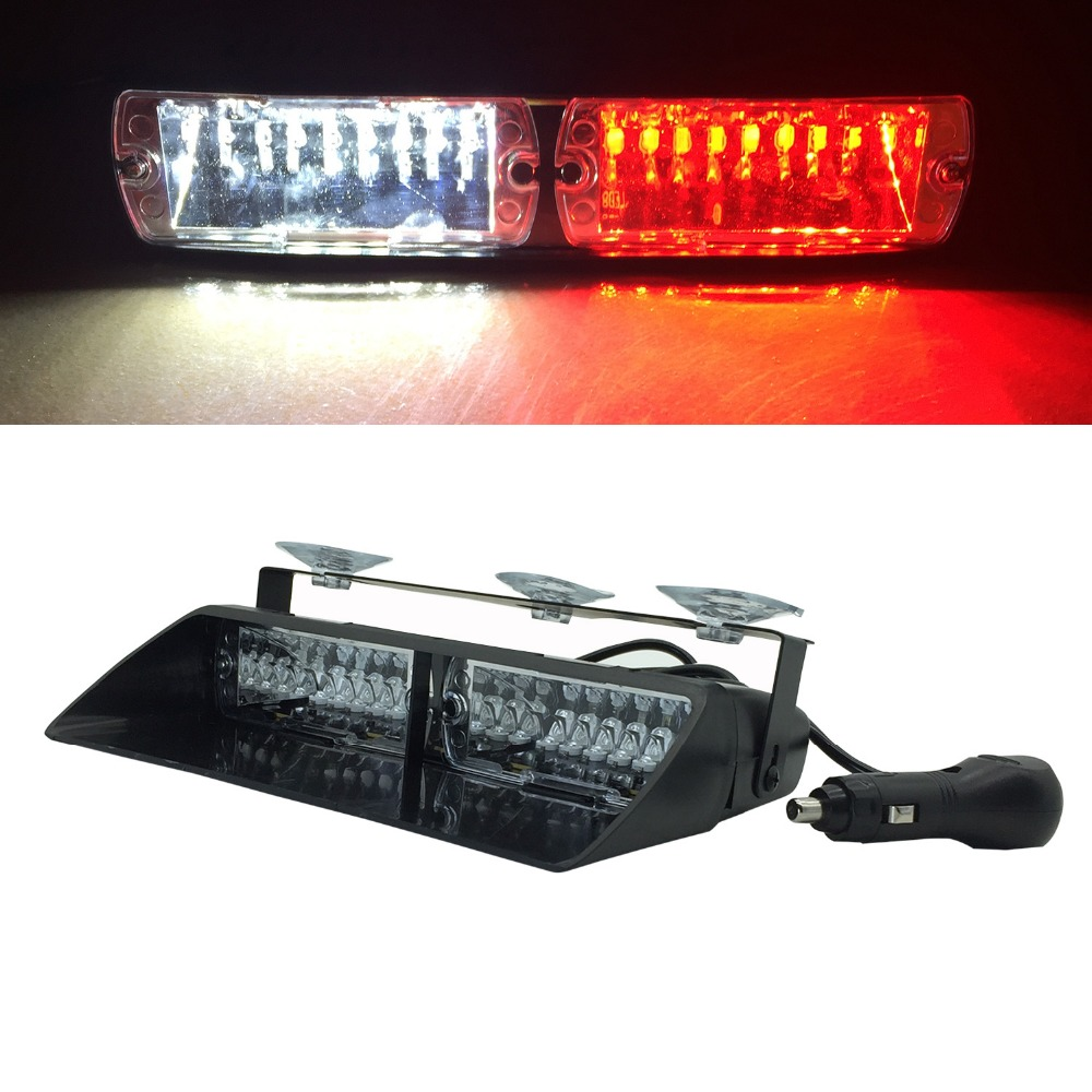 DC12V Powerful Red Blue Amber White Signal Viper S2 Car Flash Security Police Window Shield Emergency Warning Strobe Deck Light