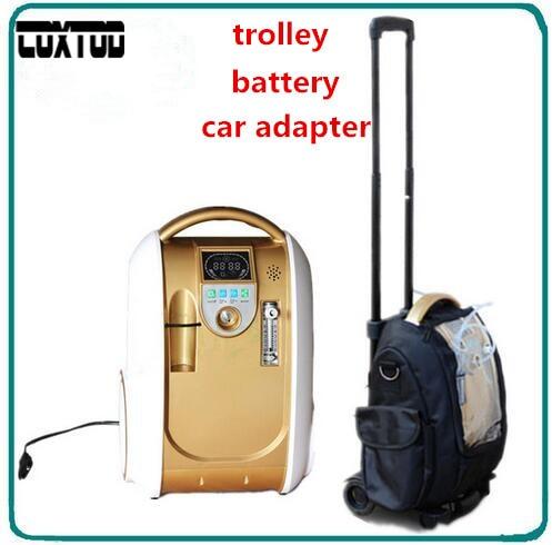 COXTOD Hause Auto Reise 1L-5L Einstellen Medizinische Sauerstoffkonzentrator Generator Portable mit Batterie Auto Adpator Tragetasche Trolley
