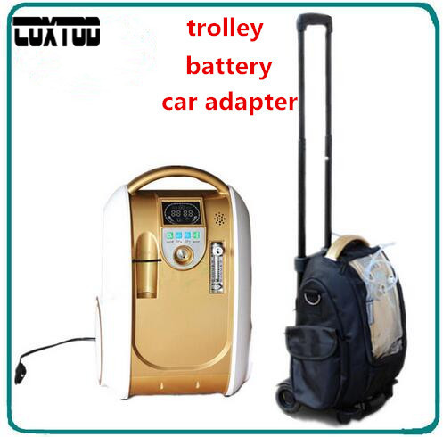 COXTOD Home Car Travel 1L-5L Adjust Medical Oxygen Concentrator Generator Portable with Battery Car Adpator Carry Bag Trolley