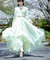 Free Shipping Retro 2016 New Arrival Stand Collar Flower Embroidery Long Sleeve Chiffon Long Dress As the picture