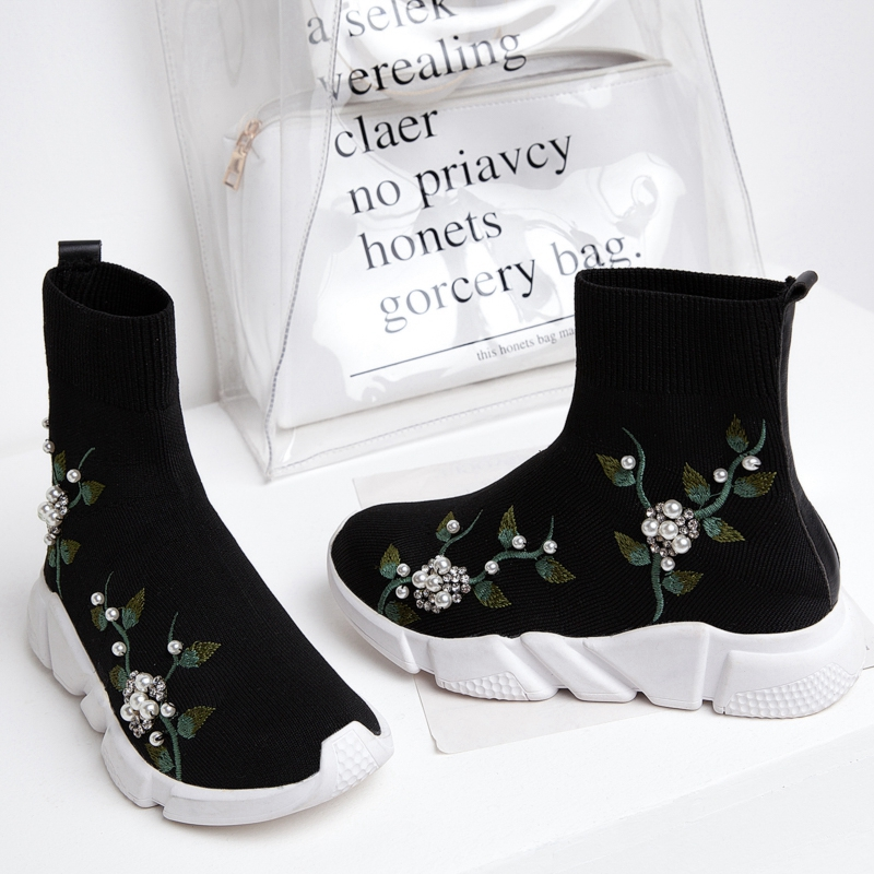 Girseaby NEW Embroidered flower sneakers knitting Winter Woman Shoes Ankle flat Boots Female Platform rhinestone slip on Black - 3