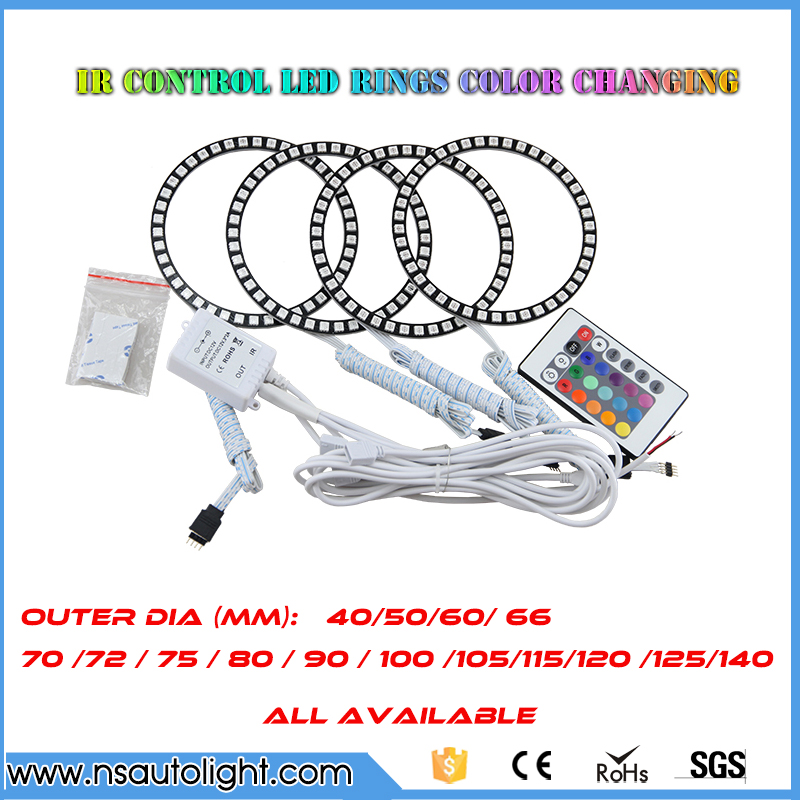 China manufacture good quality 4x 120mm 42pcs 5050SMD LED RGB car angel eyes light geadlight halo ring remote control stainless steel axle sleeve china shen zhen city cnc machine manufacture