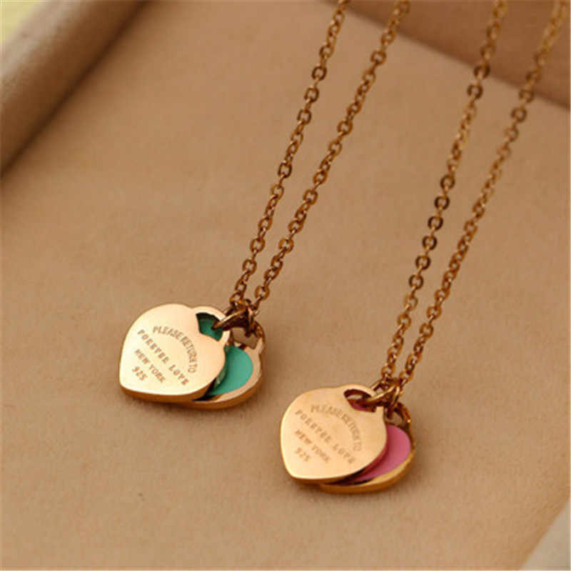 """FOREVER LOVE"" Stamp Pendant Necklace Choker Enamel Double Love Heart  For Women Jewelry Green/Pink K0023"