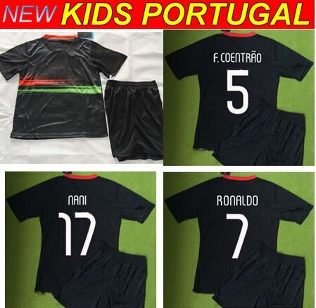 15 16 Portugal Kids Uniform futbol set Camiseta Kids Portugal 2015 NANI F  COENTRAO RONALDO 2016 Portugal Children Soccer Jersey 65cef214f