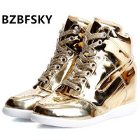 2016 Fashion Silver And Gold High Top Lace Up Casual Shoes Hip Hop Shoes Women S