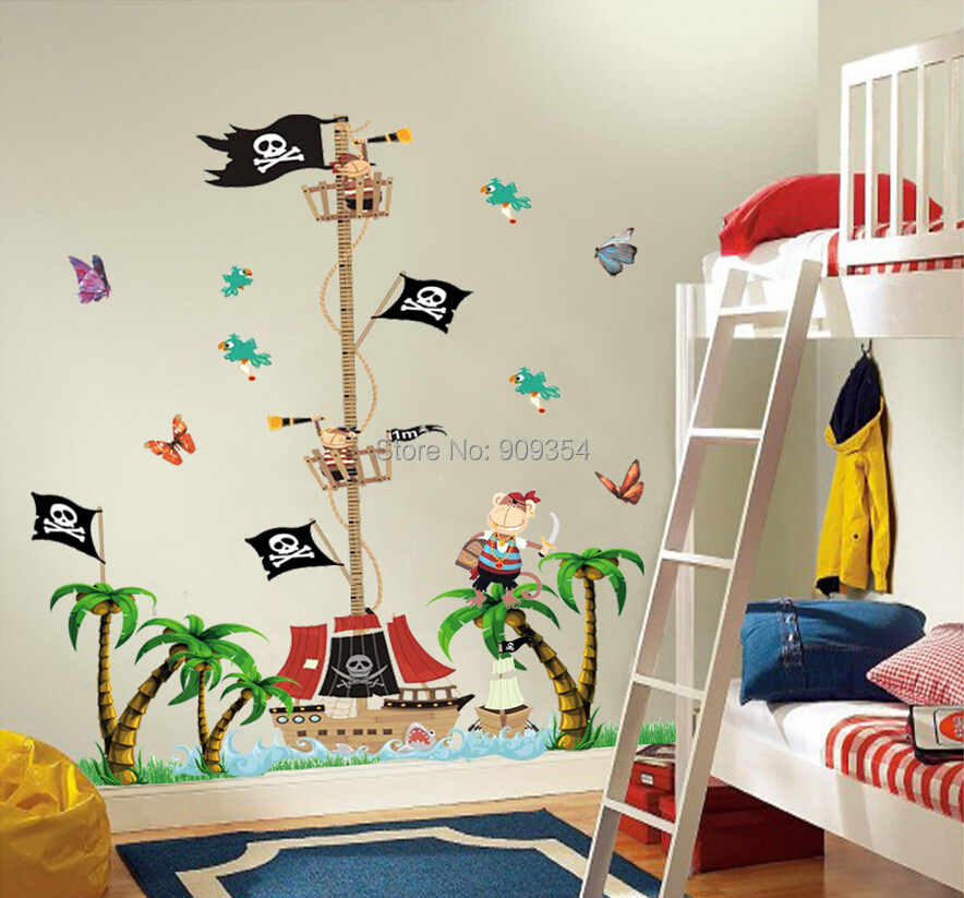 Free Shipping Pirate Wall Stickers Height Chart Animal Tree Decor