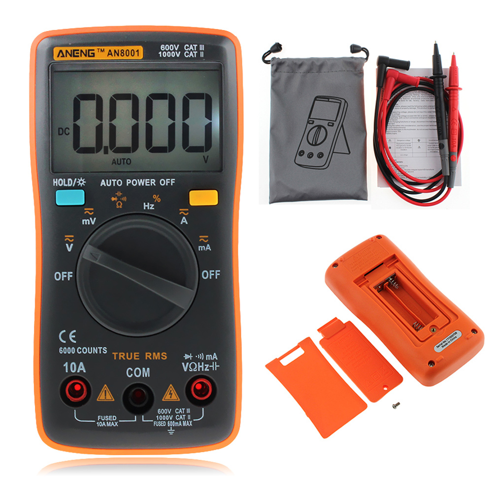 Digital Multimeter 6000Counts Backlight AC/DC Voltage Current Ohm Portable Meter Ammeter Voltmeter With Test Probe Leads Cable