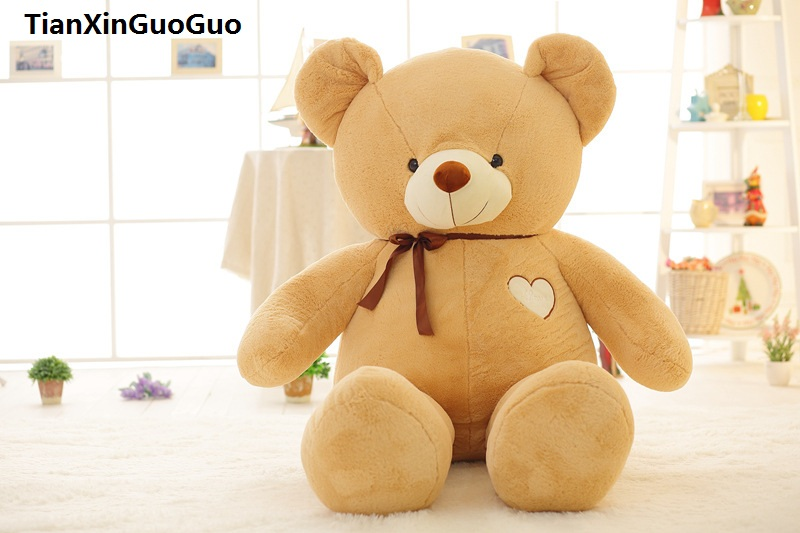 stuffed toy large 80cm love heart light brown teddy bear plush toy silk belt bear soft doll throw pillow birthday gift s0368 filling toy large about 80cm hello kitty plush toy soft throw pillow birthday gift w5197