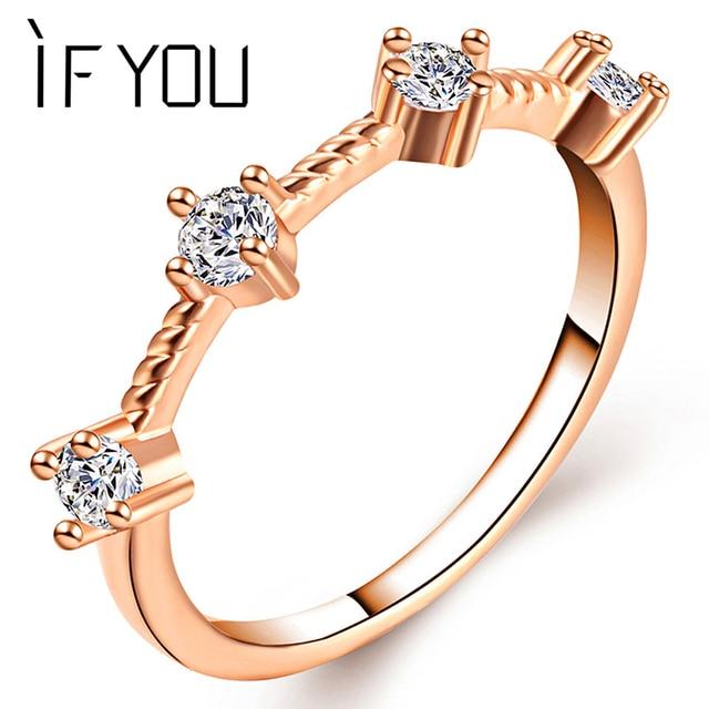IF YOU 1pc Irregular Round Crystal Ring Fashion Elegant Romantic Rose Gold Color