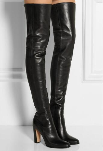 Plain Leather Black Thigh High Boots Square Heel Round Toe Zip Over Knee High Boots Autumn Shoe Fashion Motorcycle Booties Women new 2017 women fashion over knee high boots poin toe black leather booties thick heel tall thigh high glaiator booties dress