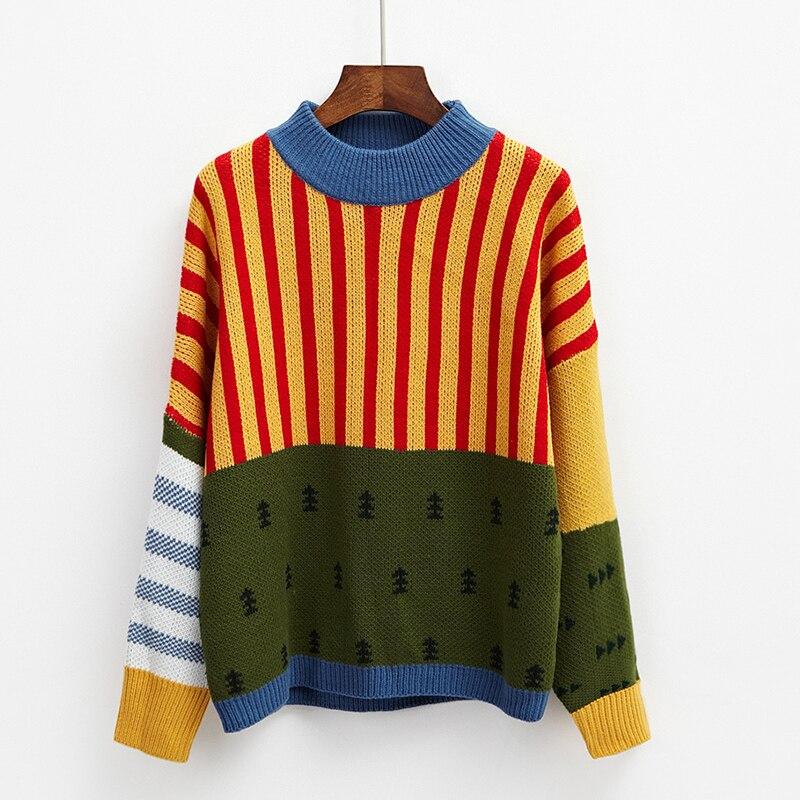 2019 nuevo coreano suéteres de invierno mujer Vintage Color de rayas suelto suéter Casual mujer sudaderas